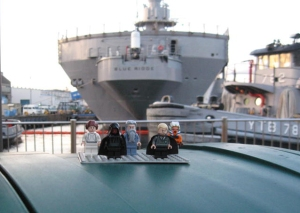 Our Lego family visiting the stern of the ship in port.