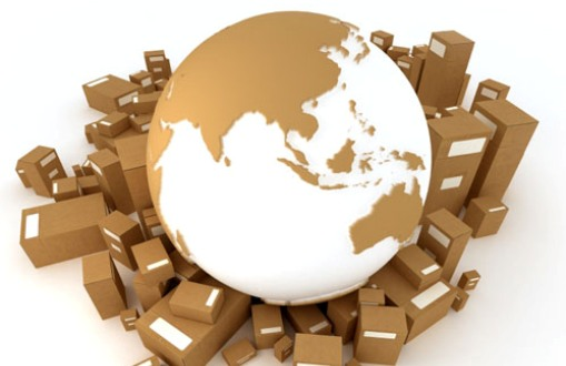 Earth Asia oriented surrounded by packages