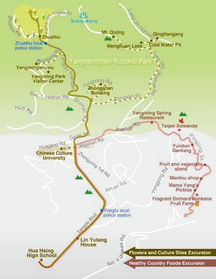 map to yangminshan