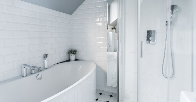 41379089 - exclusive white bathroom with bath and shower